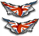 XLARGE Pair Triangular Ripped Torn Metal & Union Jack British Flag Motif Vinyl Car Sticker 300x140mm